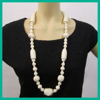 Kenneth Jay Lane Womens Bone Carved Bead Necklace Rtl $113 Nwot Jmto