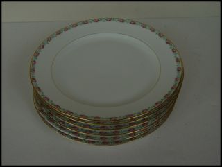 Antique Limoges Pouyat Roses Gold Ribbon Plate