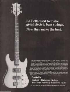 1978 La Bella Electric Strings Ken Smith Bass Guitar Print Ad