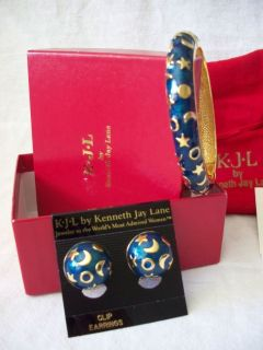 Kenneth Jay Lane KJL Blue Enamel Bangle Bracelet Clip Earring Moon