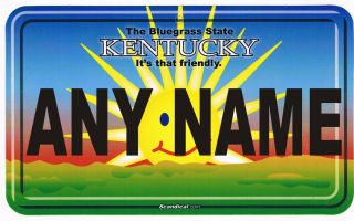 Personalized T Shirt Kentucky The Bluegrass State Custom Name License