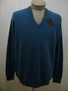 Mens XXL Kenneth Roberts Platinum 100 Cashmere V Neck Sweater 2XL 2X