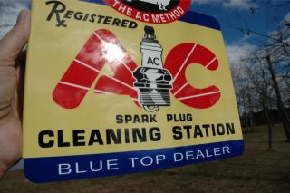 Old Style Blue Top Car Truck AC Spark Plug Donkey Clean Station STL