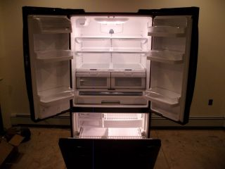 KEMORE ELITE REFRIGERATOR BLACK LARGE AND LOADED DOUBLE DOOR PULL OUT