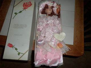 Chantell Collection Porcelain Doll Hand Crafted and Painted w Stand