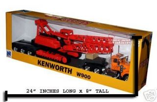 Kenworth W900 Big Rig Lowboy with Crane Diecast 1 32 Scale Toy Model