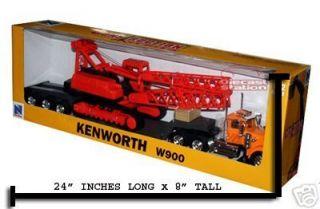 Kenworth W900 Big Rig Lowboy with Crane Diecast 1 32 Scale Toy Model