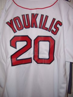 KEVIN YOUKILIS Boston Red Sox Baseball Home JERSEY MLB NEW WHITE SHIRT