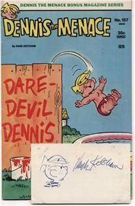Hank Ketchum Dennis The Menace Signed Card Comic Book