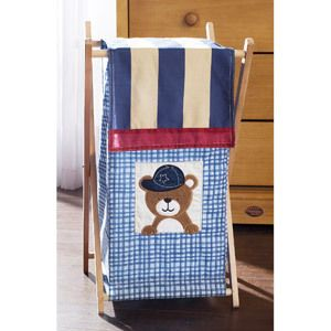 LilKids Sports Fan Hamper Boys Nursery Light Dark Blue Red and Bear