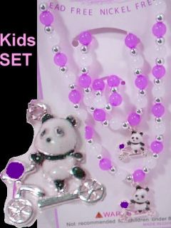 Children Necklace Panda Bear Purple Kids Jewelry Set