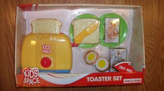 Kids Play Kitchen Food Toaster Dishes Kids Space Play Set Cute