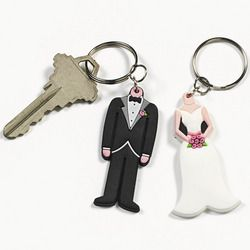 Set of 2 Wedding Bride Groom Keychains Party Favors Gifts Goodies
