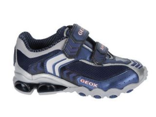 Kids Boys Geox J Tornado s Navy Silver J11F1S C0673 Velcro Sneakers