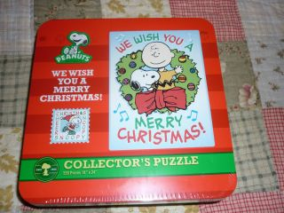 Collectors Puzzle in Tin We Wish You a Merry Christmas Fact Sealed