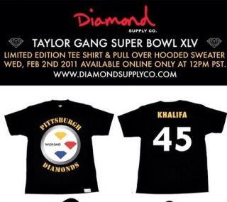 Diamond Supply x Wiz Khalifa x Pittsburgh Steelers Tee L Shirt Crew