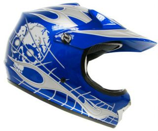 Youth KIDS Motocross Motorcross Dirt Bike ATV MX Off Road Helmet Blue
