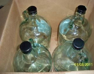Clear Glass Gallon Wine Jugs with Handle Screw Lids