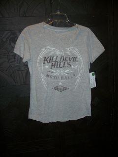 LIVE FAST womens top Kill Devil Hills moto rally heather gray small
