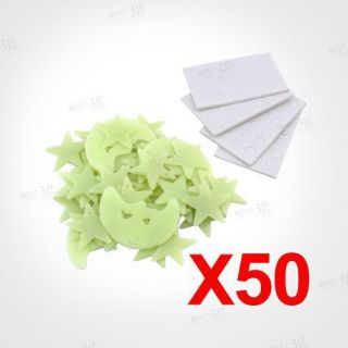 50 Glow in The Dark Stars Moons Baby Kids Room Bedroom