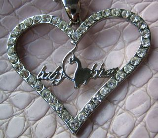 Kimora Lee Simmons Baby Phat Crystal Heart w Cat Pendant Necklace