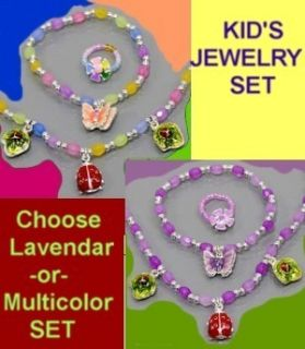 Ladybug Butterfly Kids Children Pink Purple Set Jewelry