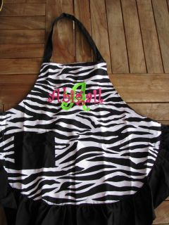 kids personalized apron zebra cook chef embriodered girl gift kitchen