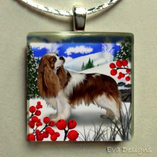 Cavalier King Charles Spaniel Dog Glass Tile Pendant
