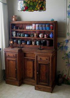 Dramatic Primitive Pine Hutch Cupboard as Found in Kimberton PA