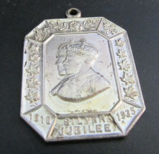KING GEORGE V QUEEN MARY 1910 1935 SILVER JUBILEE MEDALLION OCTAGON