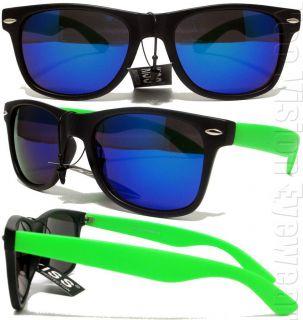 Kiss Retro Wayfarer Sunglasses Blue Mirror Neon Green K30NE