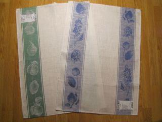 of 2 100 pure Linen Towels Fruits Tea Dish Kitchen ECO friendly flax
