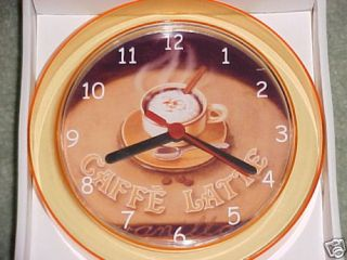 Cafe Latte Coffee Kitchen Wall Clock 7 inch New Caffe