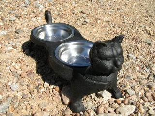 Black Cast Iron Cat Pet Water Food Bowl Kitty Feeder