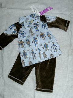 Kissy Kissy Boys 0 3 Months 2 Piece Robots Outfit Blue Brown w Collar