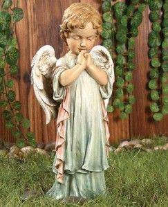 Pastel Praying Angel Statue Indoor Outdoor Figurine