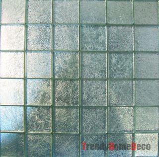Silver Foil Glass Mosaic Tile Backsplash Kitchen Wall Sink Bath