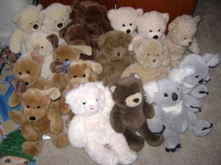 Build A Bear BABW Lot of 18 Teddy Bears Koalas Puppy Dogs Plush