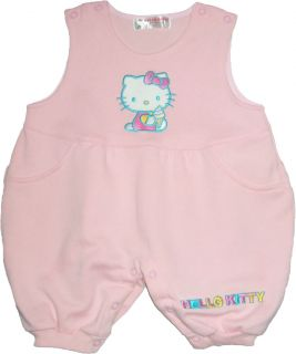 New Hello Kitty Baby Ice Cream Embroider Jumper Overall Romper Sz 0 6M