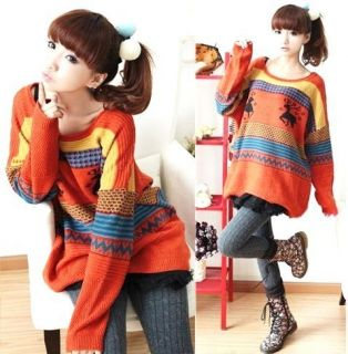 Women X mas Deer Sweaters Knitting Knitwear Womens Asymmetric Hemline