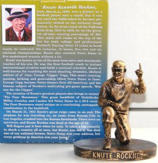 KNUTE ROCKNE Notre Dame Fighting Irish 2006 Bronze Exclusive Hartland