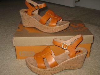 New Korks Kork Ease Burnt Orange Brie Cork Wedges Shoes $99 Comfort