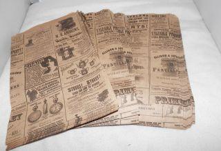 Print Paper Kraft Bags Vintage Style Newsprint Favor Craft Bag