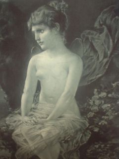 Nude Girl Old Print Painting Kray Pinx Gravure Gebbie Husson 17 x 20