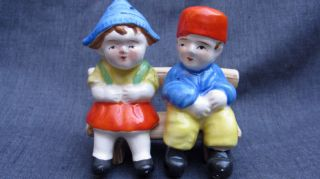 1950s Japan Dutch Children on Bench Salt Pepper Shakers