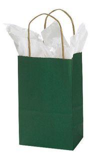 100 Green Kraft Paper Bags Shopping Handles 5 x 3 x 8
