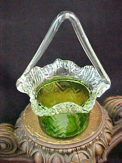 Vibrant Antique Bohemian Czech Kralik Green ZigZag Art Glass Basket