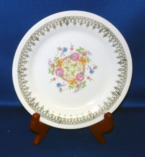 Edwin M Knowles China Royal Knowlton Gold Filigree Floral Center Salad