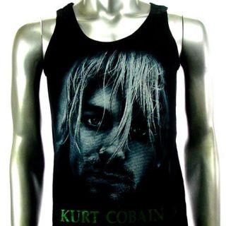 Sz L Nirvana Kurt Cobain T Shirt Tank Top Vest Biker Punk Men Rock V16