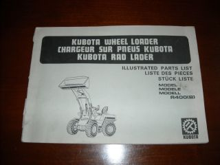 Kubota R400 Wheel Loader Parts List Manual